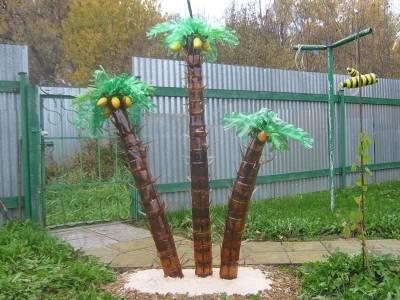Пальмы из бутылок сделать своими руками