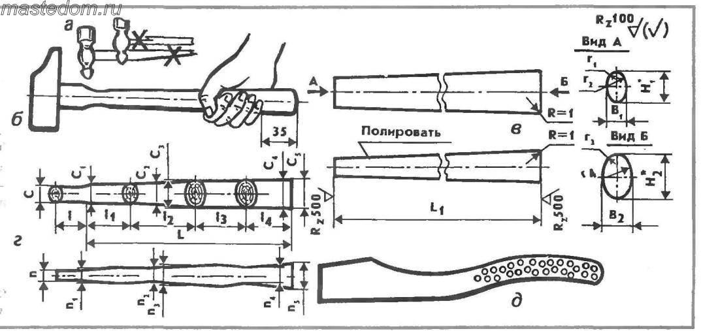 Чертеж для изготовления топорища своими руками 16
